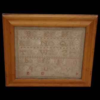Sampler. Needlework sampler. Vintage sampler. 1909 sampler.