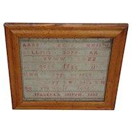Sampler. needlework sampler: Vintage sampler 1832.