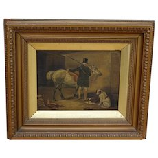 Painting. Horse painting. Dog painting. Vintage oil painting. Horse and squire in stable.