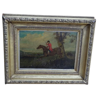 Painting of a horse. Horse painting. Horse & rider.
