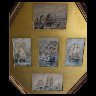 Ship painting. Sailing ships. Galleons. W.E. Atkins.