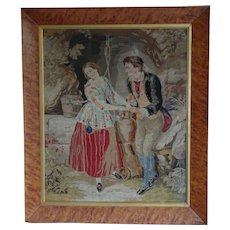 Tapestry. Victorian needlework tapestry. Wishing well.