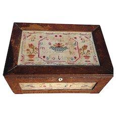 Sampler. Needlework sampler box. Folk art box. Vintage sampler.