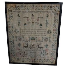 Sampler. Needlework sampler. 1796 sampler.