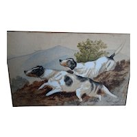Dog painting. Vintage dog painting. W.H. Trood.