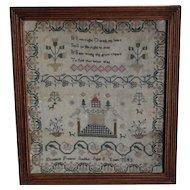 Sampler, Needlework sampler. Vintage sampler. 1843 sampler.