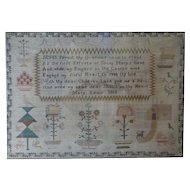 Sampler, Needlework sampler. Early vintage sampler. 1803 sampler.