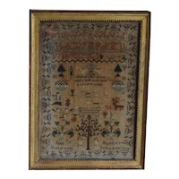 Sampler, Needlework sampler. Early vintage sampler. 1832 sampler.
