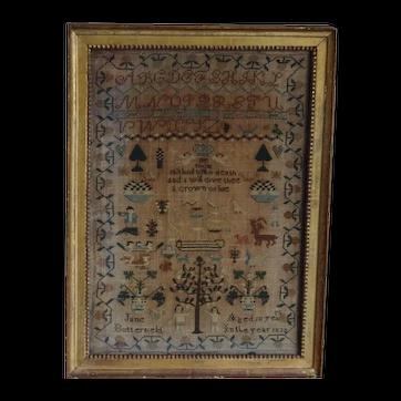 Sampler, Needlework sampler. Early vintage sampler. 1832 sampler.