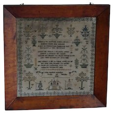 Sampler. Needlework sampler. Vintage sampler. 1839 sampler.