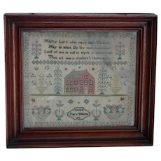 Sampler. Needlework sampler. Needlework sampler dated 1818. Vintage sampler.