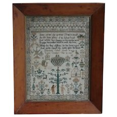 Sampler. Needlework sampler. 1843 sampler.
