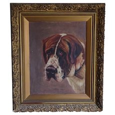 St. Bernard dog. Dog painting. Painting of a dog.