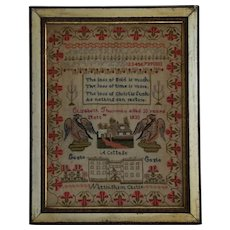 Sampler Needlework sampler. 1833 sampler. Nottingham Castle.
