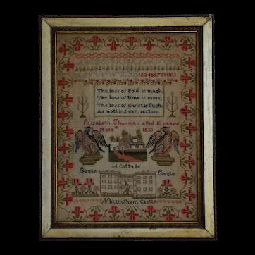 Sampler Needlework sampler. 1833 sampler. Nottingham Castle.
