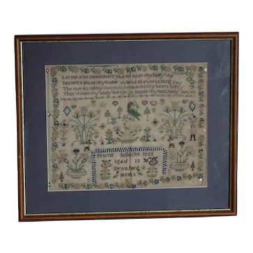 Sampler Needlework sampler. 1853 sampler.