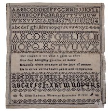 Sampler. Needlework sampler. 1832 sampler.