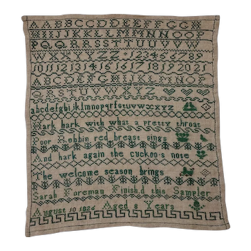 Sampler. Needlework sampler. 1826 sampler.