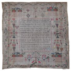 Sampler. Needlework sampler. Vintage sampler 1803.