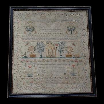 Sampler. Needlework sampler. Vintage sampler 1805.