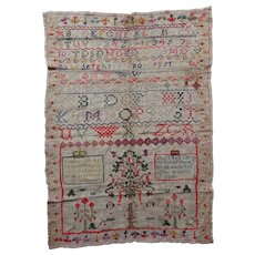 Sampler. Vintage needlework sampler 1808.