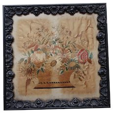 Sampler. Silkwork. Embroidery. Vintage needlework.