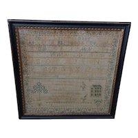 Sampler. Needlework sampler. 1846 sampler.
