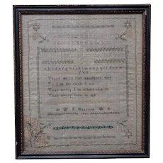 Sampler. Needlework sampler. Vintage sampler 1831.