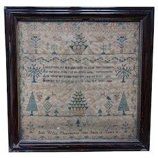 Sampler. Needlework sampler. Vintage sampler 1844.