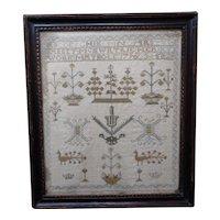 Sampler. Needlework sampler. 1796 sampler.