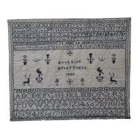 Sampler. Needlework sampler. Vintage sampler 1836.