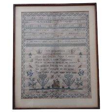 Sampler. needlework sampler. 1831 sampler.