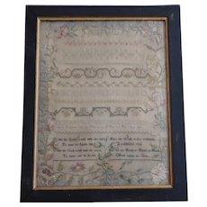 Sampler. Needlework sampler. 1830 sampler.