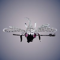 Estate 14 karat White Dragon Fly Pin/Pendant