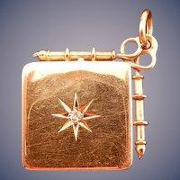 10 karat Victorian Style Locket with Diamond