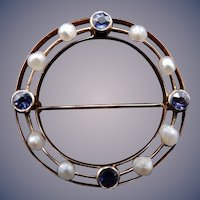 Sapphire and Seed Pearl Pin