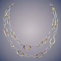 14 Karat Gold Estate Two Tone Necklace