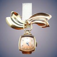 14 Karat Vintage Retro watch pin and watch