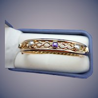 9 Karat Vintage English Amethyst and Pearl Bangle Bracelet