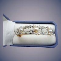 14 Karat Natural Pearl and Diamond Bangle Bracelet