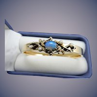 14 Karat Opal and Pearl Bangle Bracelet