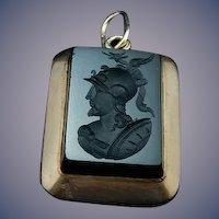 10 Karat Black Onyx Intaglio cut locket