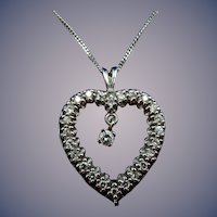 14 Karat Estate Diamond Heart Pendant