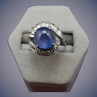 Vintage Platinum Cabochon Star Sapphire and Diamond Ring