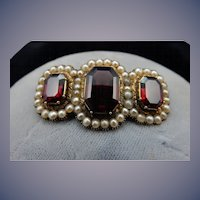 Vintage 14 Karat Garnet and Pearl Brooch