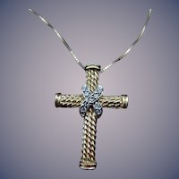 14 Karat Estate Cross and Chain