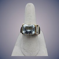 14 Karat Estate Aqua and Diamond Ring