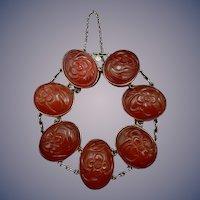 14 Karat Carved Carnelian Bracelet