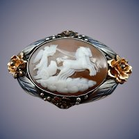 Sterling and Gold Shell Cameo Brooch