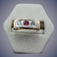 10 Karat Art Deco Diamond and Ruby Ring